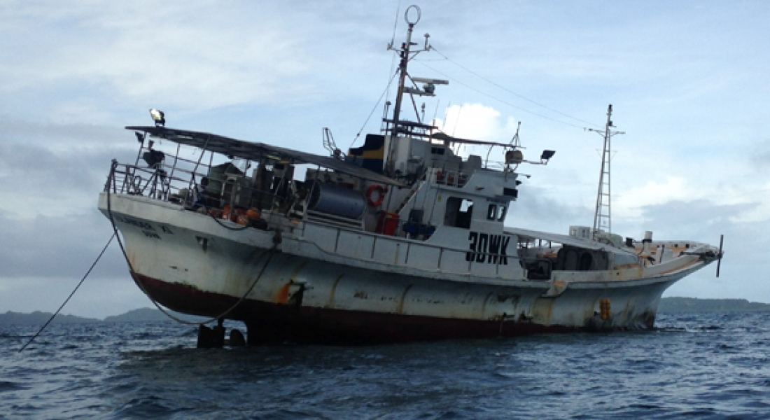 Local fishing vessel runs aground on a reef patch within the bay in Lomaloma